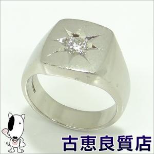 PT900 プラチナ 指輪 印台 D0.39 メンズ 29.3g リング サイズ 21号 (hon) koera