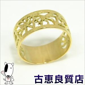 美品 K18 柄入り平打ちイエローゴールドリング  4.6g 指輪 リングサイズ19号 中古(hon)|koera