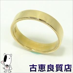 中古・美品 K18 指輪 平打ちリング メンズ/レディース  4.6g サイズ13.5号(hon)|koera