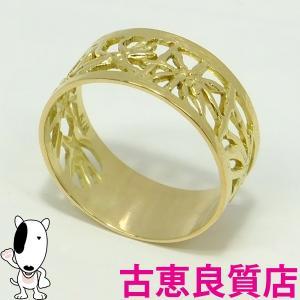 K18 指輪 平打ち透かしリング 4.6g サイズ19号  中古・美品(hon)|koera