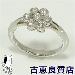 中古・美品 TIFFANY ティファニー Pt950 ガーデンフラワー ダイヤモンドリング 指輪 リングサイズ7.5号 (hon) koera