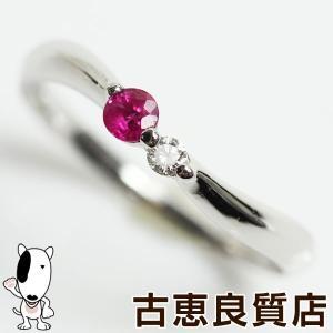 プラチナ 指輪 ルビー/ダイヤリング 0.04ct 3gリング サイズ14.5号 あすつく/MR1289/中古/Pt900|koera