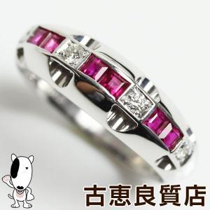 K18WG 指輪 ホワイトゴールド ダイヤ0.1ct/ルビー0.62ct 6.7gリング サイズ13号 あすつく/新品仕上げ済み/MR1287/中古|koera