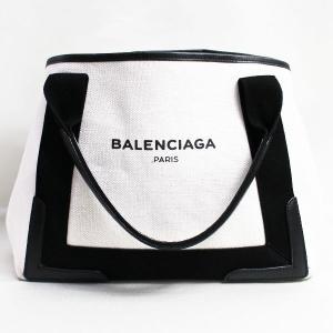 BALENCIAGA バレンシアガ NAVY CABAS S トートバッグ コットン レザー 339...