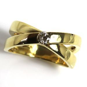 K18 指輪 ダイヤモンドリングファッションリング D0.16 5.9g リングサイズ12号/中古/MR3207|koera