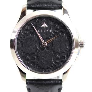 グッチ GUCCI Gタイムレス メンズ 腕時計bee 126.4/YA1264031A ブラック クオーツ/中古/MT2944|koera