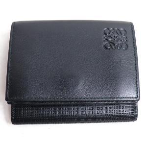 ロエベ LOEWE TRIFOLD WALLET 3つ折り財布 トリフォルド ウォレット 101.88.S26 ブラック/中古/美品|koera
