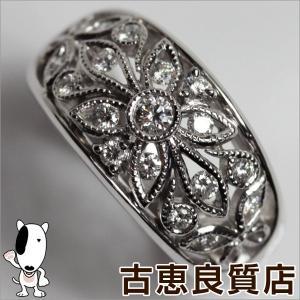 Pt 指輪 プラチナ ファッションリング D.038ct 10.5g リング サイズ13号 POLA ポーラ フラワー/MR505/中古/質屋出店/あすつく|koera