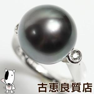 PTプラチナ指輪 黒蝶真珠 パール.15mm D.0.08ct 12.8gリング サイズ12号あすつく/鑑別書/MR1262/中古|koera