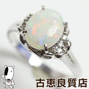 Pt プラチナ リング 指輪 オパール1.73ct/ダイヤ0.08ct 5.8g サイズ17.5号あすつく/MR1280/中古|koera
