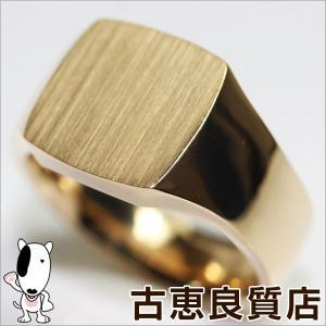 展示未使用品/K18 ゴールド 印台 メンズリング 指輪 25.1g サイズ22号/買取品/質屋出店/あすつくMR932 koera