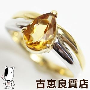 K18/Pt イエローゴールド/プラチナ リング 指輪 シトリン付き 3.1g サイズ10号  ペアシェイプカットあすつくMR1279/中古|koera