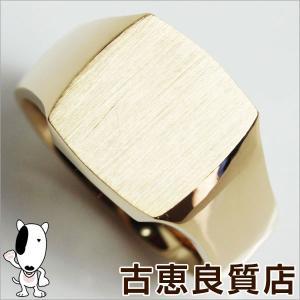 展示未使用品/K18 ゴールド 印台 メンズリング 指輪 25.2g サイズ22号/あすつく/MR1185|koera