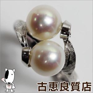 K14WG ホワイトゴールド パール.7mm×2 リング 指輪 3g サイズ12.5号/中古/質屋出店/あすつく/MR930 koera