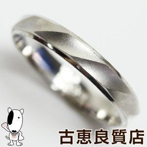 Pt プラチナ リング 指輪 Pt900 ダイヤ 3.2g サイズ16号 艶消し/カットあすつくMR1272/中古|koera