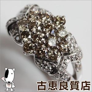 K18WG 指輪 ホワイトゴールド ファッションリング D.1.40ct 8.6g リング サイズ12号 フラワーモチーフ ブラウンダイヤ /中古/質屋出店/あすつく/MR928 koera