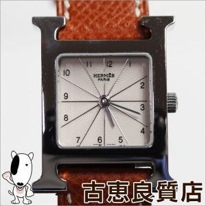 HERMES Hウォッチ レディース 腕時計 クォーツ HH1.210 茶色革ベルト/中古/質屋出店/MT995 koera