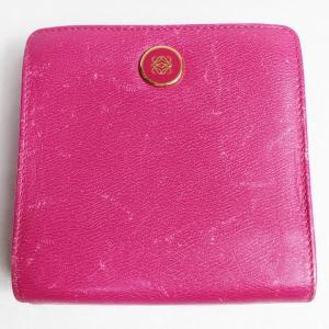 LOEWE ロエベ 二つ折り財布ピンク 902229 BILFOLD&COINPURSE あすつく 中古|koera