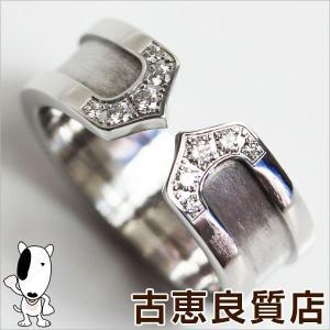 Cartier カルティエ 2Cダイヤ ホワイトゴールド リング 48 WG 8号/中古/美品/あすつく/MR1174|koera