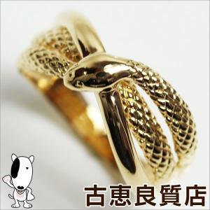 プレミアム会員ポイント5倍 K18 イエローゴールド リング 指輪 サイズ19号 約4.8g 蛇 スネーク/中古/あすつく/MR1165|koera