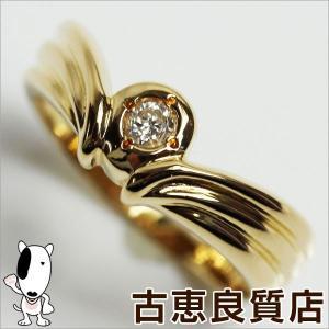 プレミアム会員ポイント5倍 K18YG イエローゴールド リング 指輪 3.0g サイズ11.5号 ダイヤ0.07ct V字/中古/あすつく/MR1167|koera