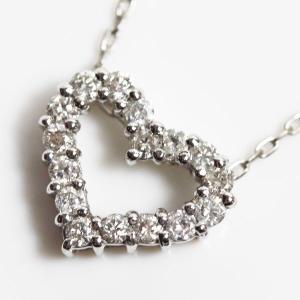 K18WG ホワイトゴールド NC ダイヤモンドネックレス D.0.2ct 1.7g 40cm/小豆チェーン ハートモチーフあすつく/MN1222/中古|koera