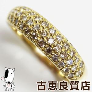 k18 イエローゴールド 甲丸 リング 指輪 3.2g ダイヤ0.45ct サイズ約10号あすつく/MR1250/中古|koera