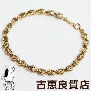 K18 デザイン ブレスレット 11g 約19.5cm 金ゴールド YG イエローゴールドあすつく/MN1259/中古 koera