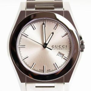腕時計 GUCCI グッチ パンテオン オートマティック 腕時計 SS 44ミリ シルバー文字盤 YA115202/115.2 シースルーバック /中古/極美品/質屋出店/MT2808|koera