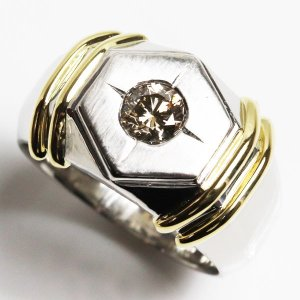 K18/PT900 イエローゴールド/プラチナ ダイヤモンドリング ファッションリング メンズ指輪 D0.58 20g サイズ19号/中古/鑑別書/MR3201|koera