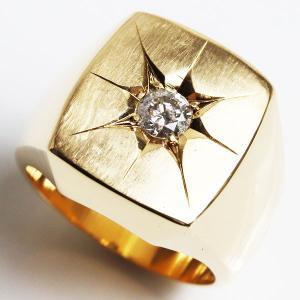 K18 印台 ダイヤモンドリングメンズリング D0.362 34.6g サイズ18号/中古/美品/MR3204|koera