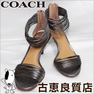 COACH コーチ レディース 女性靴 メタリックレザーサンダル サイズ35.5M 日本サイズ約22.5cm Q5067 踵ファスナー/中古/美品/質屋出店/あすつく/値下げ|koera