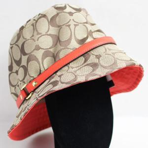 コーチ COACH  帽子 M/L F83636 ベージュ レッド 羊革 KHAKI/HOTORANGE/質屋出店あすつく//未使用/買取品|koera