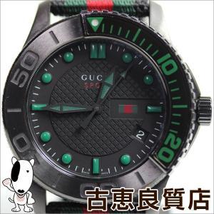 グッチ GUCCI 126.2 Gタイムレス メンズ クォーツ 腕時計 SS 44ミリ 黒文字盤 クオーツ ナイロンベルト YA126229/中古/質屋出店/あすつく/MT1059|koera