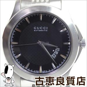 グッチ GUCCI 126.2 Gタイムレス メンズ 腕時計 SS 黒文字盤 オートマチック/シルバー/ステンレスベルト YA126210/中古/質屋出店/あすつく/MT1053|koera