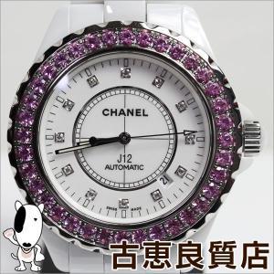 シャネル CHANEL J12 H2011 42mm 12Pダイヤ ピンクサファイアベゼル ホワイトセラミック オートマチック 自動巻き/中古/美品/MT1185|koera