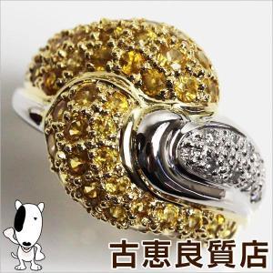 K18/Ptリング プラチナ/ゴールド YS2.85ct D0.13ct 12.5g リングサイズ13号 イエローサファイア/中古/MR1181|koera