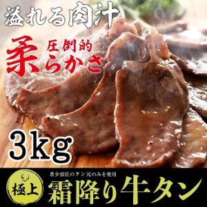 牛タン 厚切り 霜降り牛タン3kg 特製 塩だれ 付き (100gずつ小分け) お取り寄せグルメ 肉 BBQ 焼肉  牛肉|kofukutei