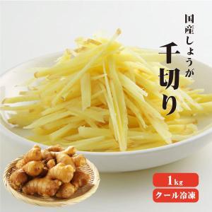 国産冷凍生姜 千切 1Kg 【冷凍便】 しょうが 無添加 無着色 業務用 香辛料|koganenosato