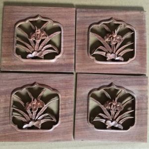 紫檀 アヤメ彫刻柄 左右2対 手彫り木工部品|kohama-butsudan