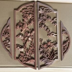 紫檀 繊細な彫刻パーツ 手彫り木工部品|kohama-butsudan