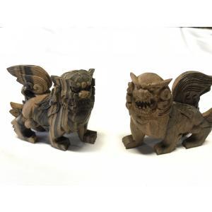 黒檀 獅子 手彫り彫刻木工品|kohama-butsudan