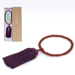 念珠女性用 瑪瑙 尺一丸 片手 薄古代紫正絹房2.5寸仕立て|kohgallery