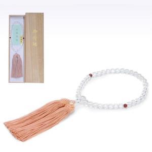 念珠女性用 水晶 尺一丸 片手 灰桜正絹房2.5寸二天瑪瑙仕立て|kohgallery
