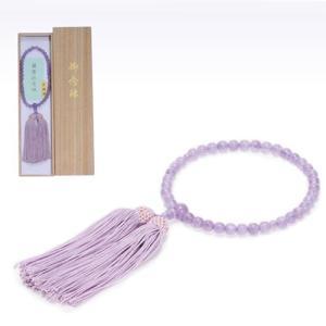 念珠女性用 ライトアメジスト 尺一丸 片手 藤正絹房2.5寸共仕立て|kohgallery