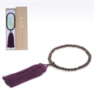 念珠女性用 茶水晶 尺一丸 片手 薄古代紫正絹房2.5寸共仕立て|kohgallery
