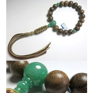 男性用のお数珠 シャム柿 18玉 インド翡翠仕立て 紐房 浄土真宗用 念珠