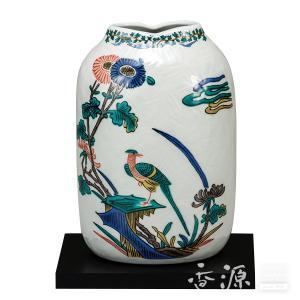 ギフト/ お祝い [花瓶] ご新築祝い 18T02804 九谷焼 送料無料 花瓶 ご結婚祝い 千段巻飛翔 木台付8号