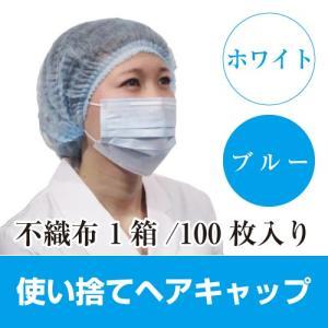 ヘアキャップ 使い捨て 不織布 医療 帽子 100枚入り スリムキャップ 23インチ ホワイト ブルー FR-5005 薄手 経済的 安い ファーストレイト|koichi