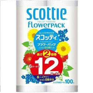 【段ボール1ケースでの配送】スコッティ フラワーパック 2倍巻き6ロール(シングル)×8入|koichi